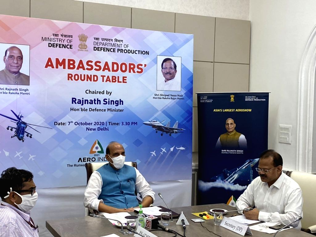 New Delhi: Defence Minister Rajnath Singh attends the Ambassadors' Round Table Conference via video conferencing in New Delhi on Oct 7, 2020. (Photo: IANS) - Rajnath Singh