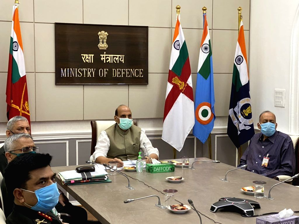 New Delhi: Defence Minister Rajnath Singh attends the foundation stone laying ceremony of underpasses at Indian Military Academy (IMA), Dehradun via video conferencing in New Delhi on Sep 28, 2020. (Photo: IANS) - Rajnath Singh