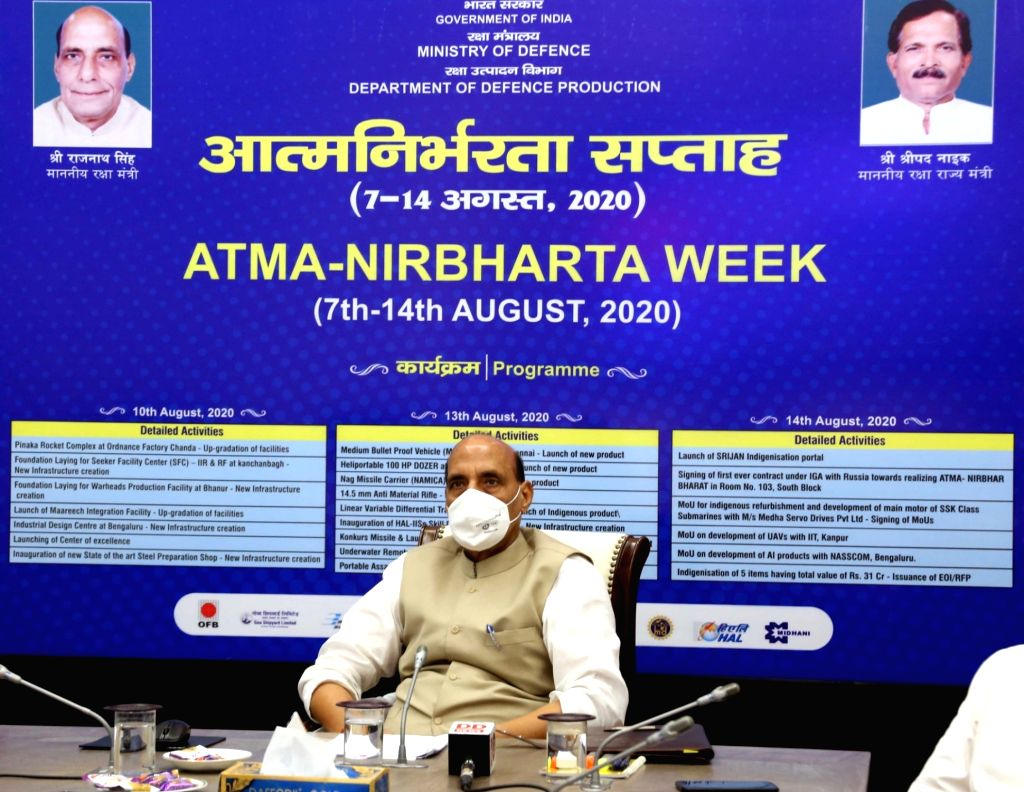 New Delhi: Defence Minister Rajnath Singh launches the modernisation/up-gradation of facilities and new infrastructure creation of Defence Public Sector Undertakings & Ordnance Factory Board as part of 'Atmanirbharta Week' celebrations, in New De - Rajnath Singh