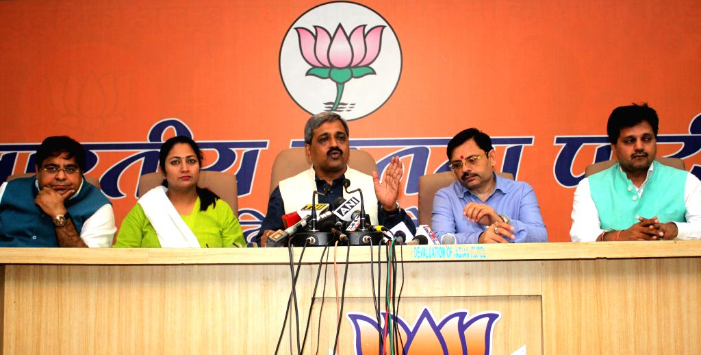 Delhi BJP chief Satish Upadhyay addresses during a press conference in New Delhi, on April 20, 2015.