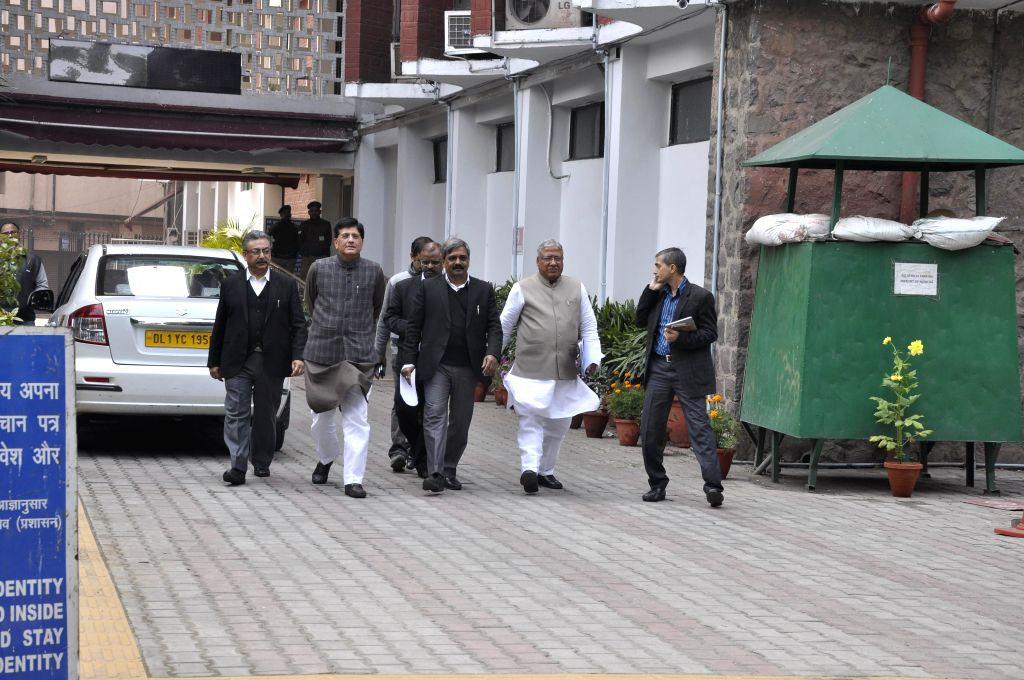Delhi BJP chief Satish Upadhyay, Union Minister of State (Independent Charge) for Power, Coal and New and Renewable Energy Piyush Goyal and other leaders leaves the Election Commission`s .. - Satish Upadhyay