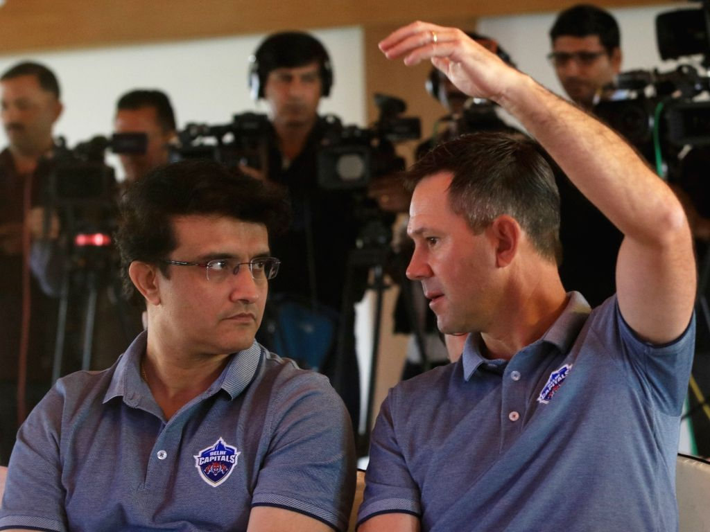 New Delhi: Delhi Capitals advisor Sourav Ganguly in a conversation with the team's head coach Ricky Ponting at a press conference in New Delhi, on March 19, 2019. (Photo: IANS) - Sourav Ganguly