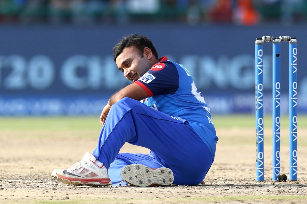 New Delhi: Delhi Capitals' bowler Amit Mishra reacts after missing a hat-trick during the 53rd match of IPL 2019 between Delhi Capitals and Rajasthan Royals at Feroz Shah Kotla Stadium in New Delhi on May 4, 2019. (Photo: Surjeet Yadav/IANS) - Amit Mishra and Surjeet Yadav