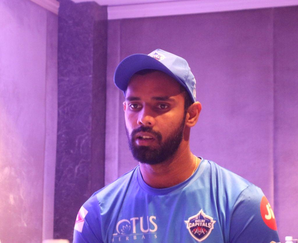 New Delhi: Delhi Capitals cricketer Hanuma Vihari at a press conference in New Delhi, on March 16, 2019. (Photo: IANS)