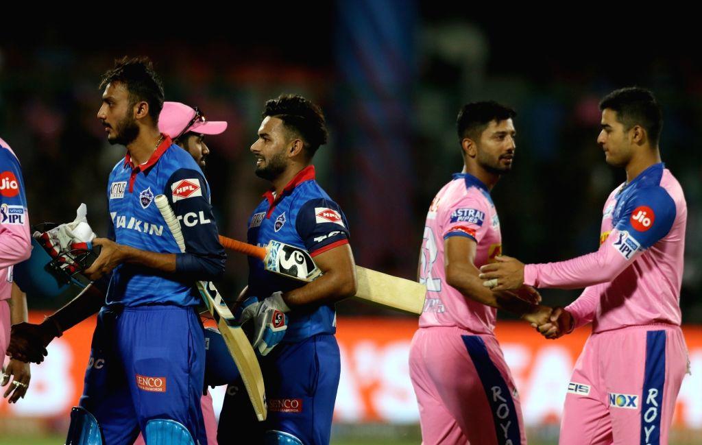 New Delhi: Delhi Capitals' Rishabh Pant and Axar Patel celebrate after winning the 53rd match of IPL 2019 against Rajasthan Royals at Feroz Shah Kotla Stadium in New Delhi on May 4, 2019. (Photo: Surjeet Yadav/IANS) - Axar Patel and Surjeet Yadav