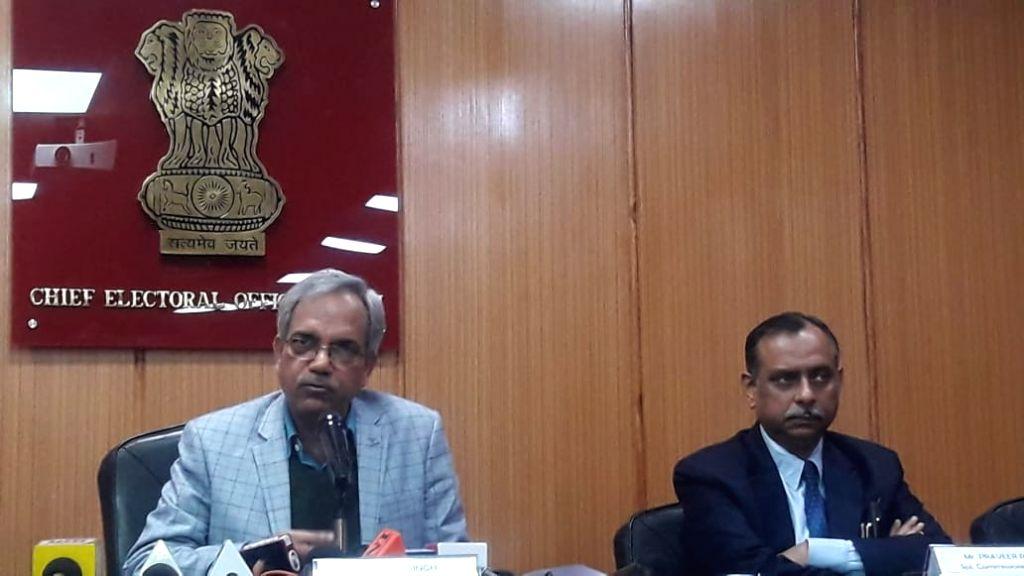 New Delhi: Delhi Chief Election Officer Dr. Ranbir Singh accompanied by Delhi police special commissioner (Intelligence) Pravir Ranjan, addresses a press conference at Kashmere Gate in New Delhi on Jan 15, 2020. (Photo: Sanjeev Kumar Singh Chauhan/IA - Ranbir Singh