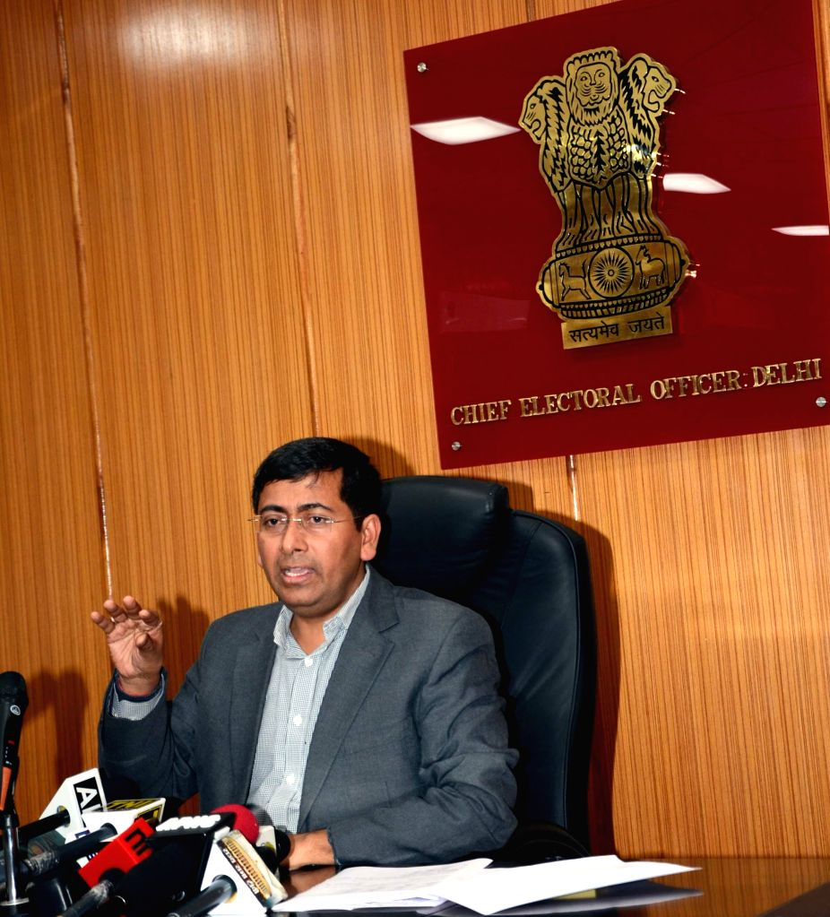 Delhi Chief Electoral Officer (CEO) Chandra Bhushan Kumar addresses a press conference in New Delhi, on Jan 5, 2015. - Chandra Bhushan Kumar
