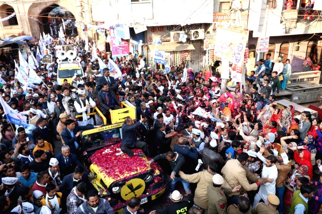 New Delhi: Delhi Chief Minister and Aam Aadmi Party chief Arvind Kejriwal holds a roadshow ahead of Delhi Assembly elections, at Badarpur in New Delhi on Jan 31, 2020. (Photo: IANS) - Arvind Kejriwal