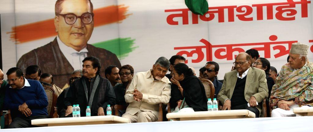 New Delhi: Delhi Chief Minister and AAP leader Arvind Kejriwal, actor turned politician Shatrughan Sinha, Andhra Pradesh Chief Minister and TDP supremo N. Chandrababu Naidu, West Bengal Chief Minister and Trinamool Congress supremo Mamata Banerjee, N - Arvind Kejriwal, Shatrughan Sinha, N. Chandrababu Naidu and Mamata Banerjee