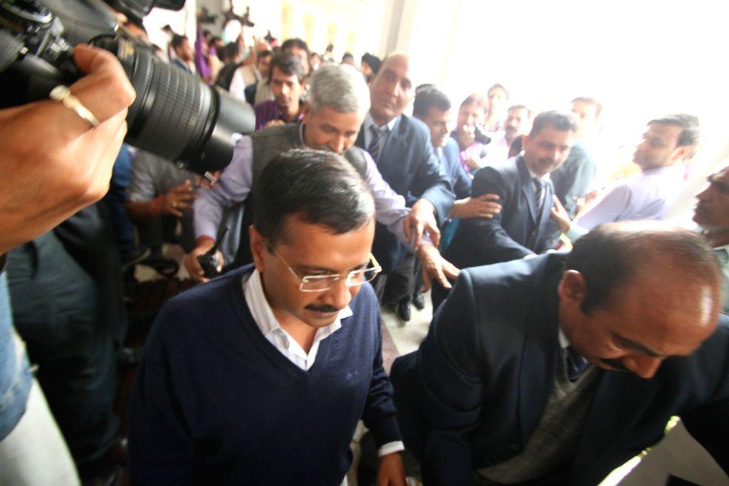 Delhi Chief Minister Arvind Kejriwal arrives to attend a Delhi Legislative Assembly session in New Delhi, on Feb 23, 2015. - Arvind Kejriwal