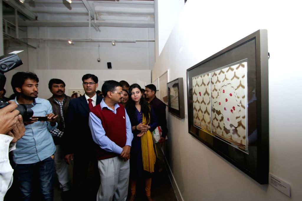 Delhi Chief Minister Arvind Kejriwal during inauguration of an exhibition showcasing creations of women artists in New Delhi, on Feb 27, 2015. - Arvind Kejriwal