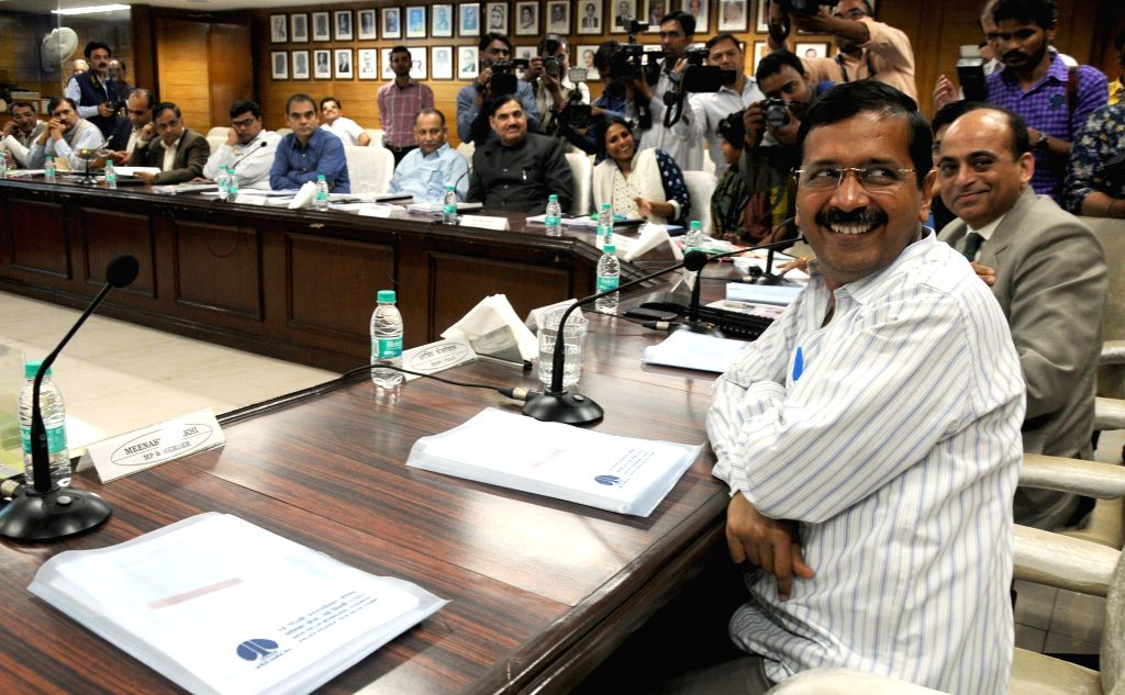 Delhi Chief Minister Arvind Kejriwal takes oath as member of the New Delhi Municipal Council at NDMC Building in New Delhi on March 20, 2015. - Arvind Kejriwal