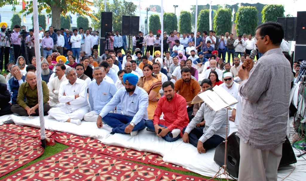 Delhi Chief Minister Arvind Kejriwal addresses during a programme organised to celebrate Shaheed Diwas in New Delhi, on March 23, 2015. - Arvind Kejriwal