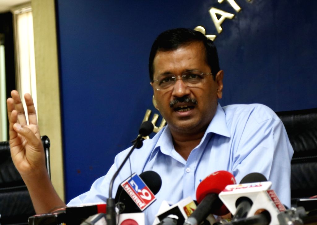 New Delhi: Delhi Chief Minister Arvind Kejriwal addresses a press conference, in New Delhi on Aug 1, 2019. People living in the national capital will not have to pay any electricity bill for consuming upto 200 units of power, the Delhi CM announced o - Arvind Kejriwal