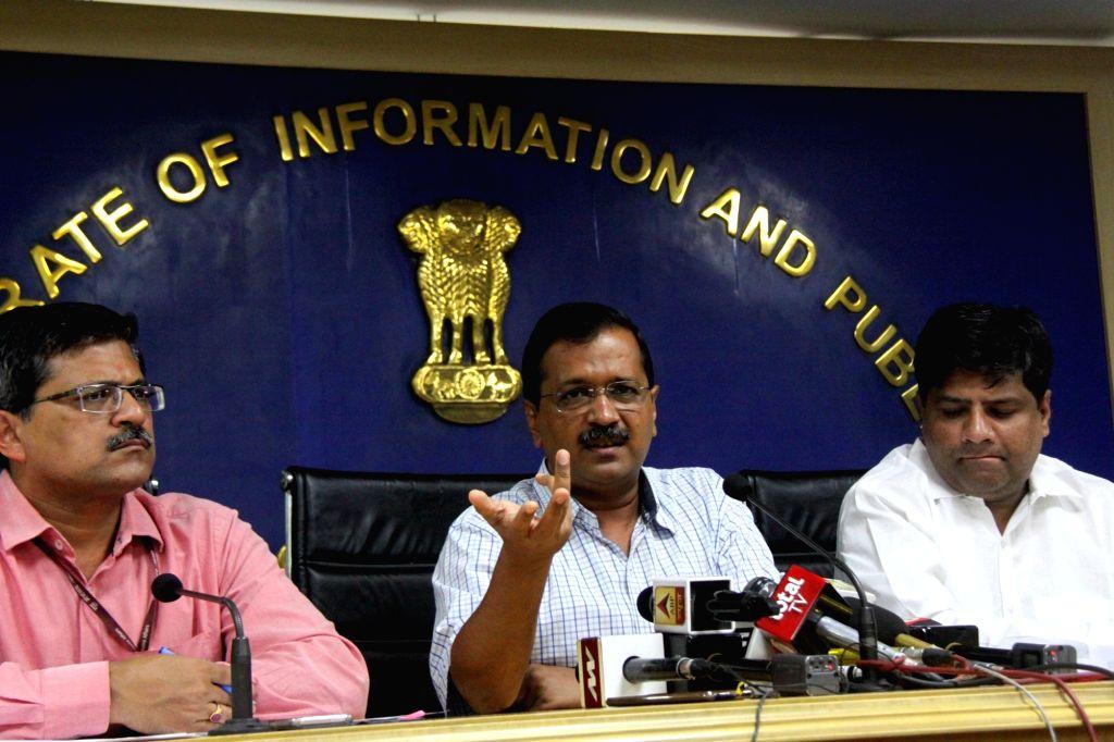 New Delhi: Delhi Chief Minister Arvind Kejriwal addresses a press conference in New Delhi, on Aug 27, 2019. (Photo: IANS) - Arvind Kejriwal
