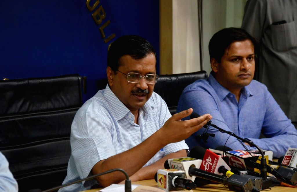 New Delhi: Delhi Chief Minister Arvind Kejriwal addresses a press conference in New Delhi on Sep 13, 2019. The CM on Friday announced that the Odd-Even scheme will be back in November, to tackle the rising menace of pollution just around the time of  - Arvind Kejriwal
