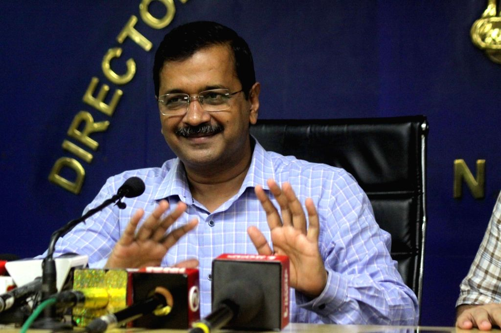 New Delhi: Delhi Chief Minister Arvind Kejriwal addresses a press conference in New Delhi on Nov 8, 2019. Addressing the media, Kejriwal on Friday announced that commuters in the national capital will not have to face the Odd-Even scheme on November  - Arvind Kejriwal and Nanak Dev