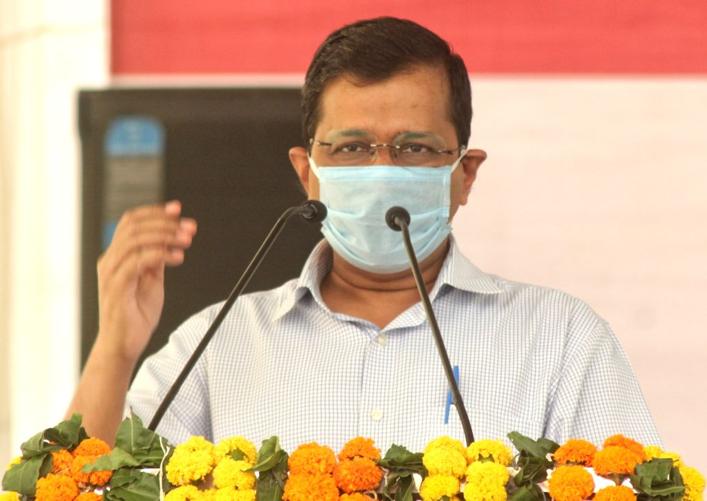 New Delhi: Delhi Chief Minister Arvind Kejriwal addresses at the inauguration of the newly-constructed Seelampur-Shastri Park flyover, in New Delhi on Oct 24, 2020. (Photo: IANS) - Arvind Kejriwal