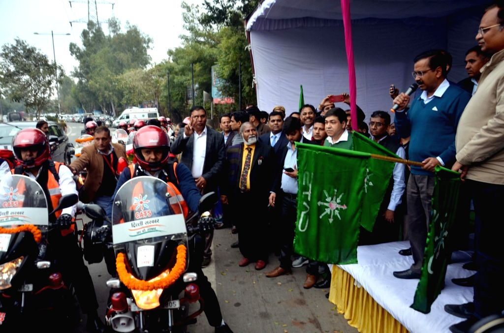 New Delhi: Delhi Chief Minister Arvind Kejriwal and Health Minister Satyendar Jain flag off bike ambulance services at Delhi Secretariat, on Feb 7, 2019. To ensure timely health assistance in traffic-congested areas and small lanes, the Delhi governm - Arvind Kejriwal and Satyendar Jain