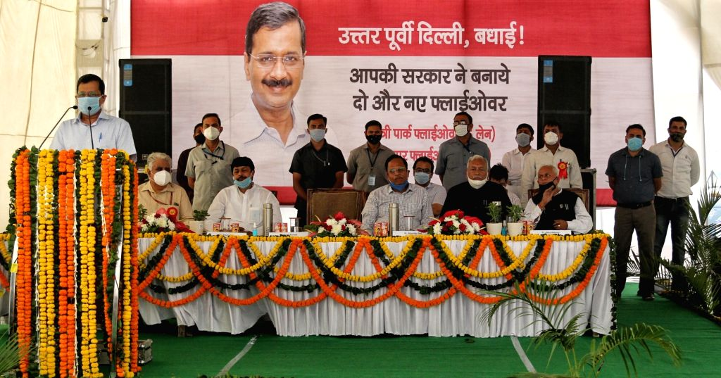 New Delhi: Delhi Chief Minister Arvind Kejriwal and Urban Development and Transport Minister Satyendra Jain at the inauguration of the newly-constructed Seelampur-Shastri Park flyover, in New Delhi on Oct 24, 2020. (Photo: IANS) - Arvind Kejriwal and Satyendra Jain