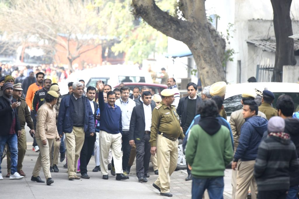 New Delhi: Delhi Chief Minister Arvind Kejriwal arrives at Jamnagar House to file his nomination from New Delhi constituency for the February 8 Assembly elections, on Jan 21, 2020. (Photo: IANS) - Arvind Kejriwal