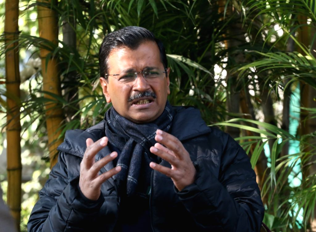 New Delhi: Delhi Chief Minister Arvind Kejriwal interacts with IANS leadership team of Sandeep Bamzai and Deepak Sharma during an exclusive interview with IANS, in New Delhi on Feb 6, 2020. (Photo: IANS) - Arvind Kejriwal and Deepak Sharma