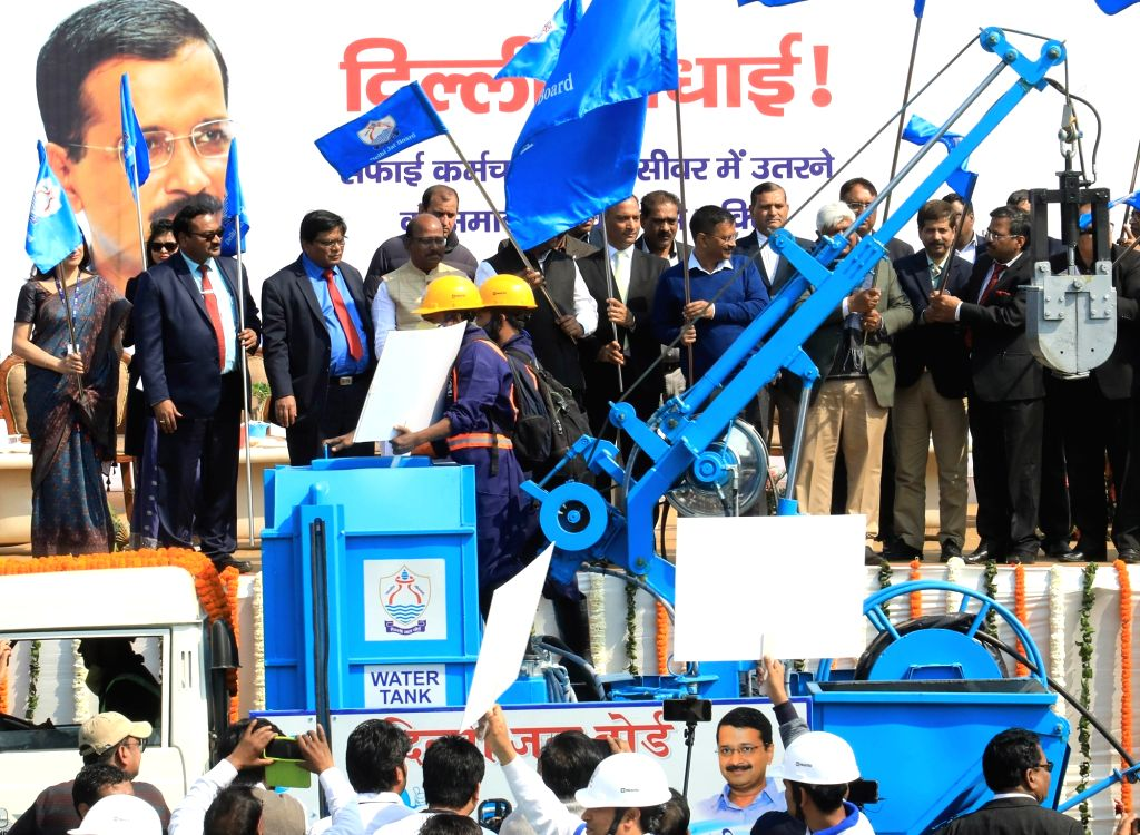 New Delhi: Delhi Chief Minister Arvind Kejriwal launches sewer cleaning machines in New Delhi on Feb 28, 2019. (Photo: IANS) - Arvind Kejriwal