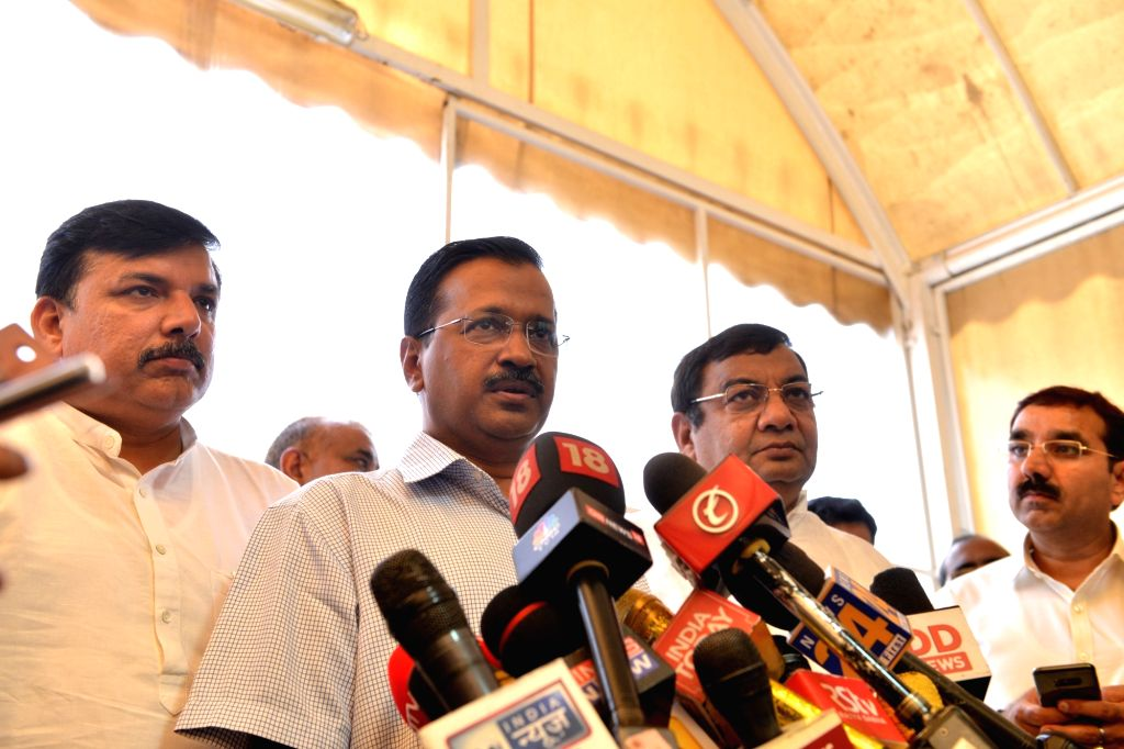 New Delhi: Delhi Chief Minister Arvind Kejriwal talks to media persons at Parliament, in New Delhi on June 21, 2019. (Photo: IANS) - Arvind Kejriwal