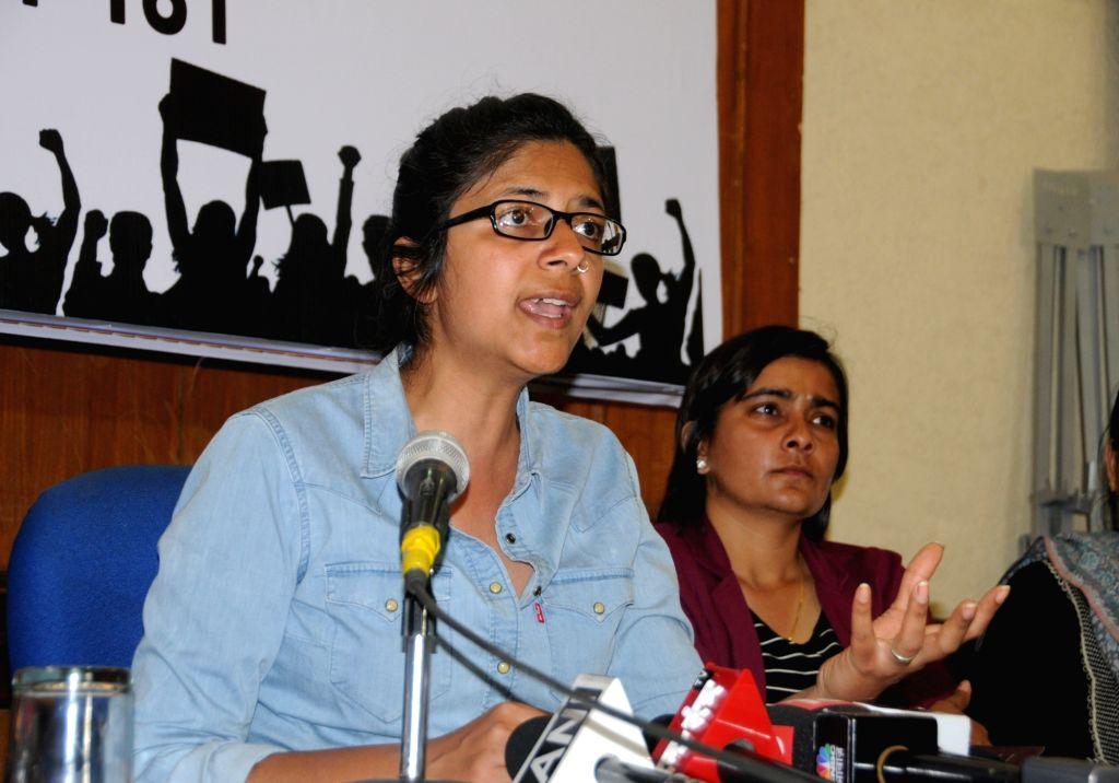 New Delhi: Delhi Commission for Women Chairperson Swati Maliwal addresses a press conference in New Delhi on March 7, 2019. (Photo: IANS)