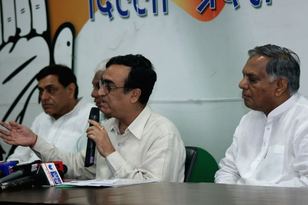 Delhi Congress chief Ajay Maken addresses a press conference at party office in New Delhi, on March 30, 2015.