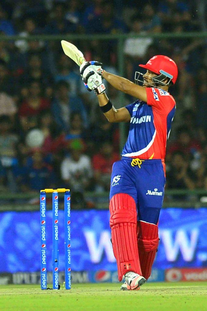 Delhi Daredevils batsman JP Duminy in action during an IPL-2015 match between Delhi Daredevils and Mumbai Indians at Feroz Shah Kotla stadium, in New Delhi, on April 23, 2015. - J and Feroz Shah Kotla