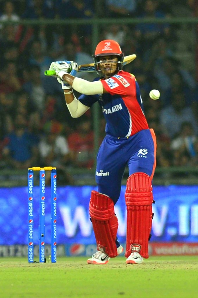 Delhi Daredevils batsman Shreyas Iyer in action during an IPL-2015 match between Delhi Daredevils and Mumbai Indians at Feroz Shah Kotla stadium, in New Delhi, on April 23, 2015. - Shreyas Iyer and Feroz Shah Kotla