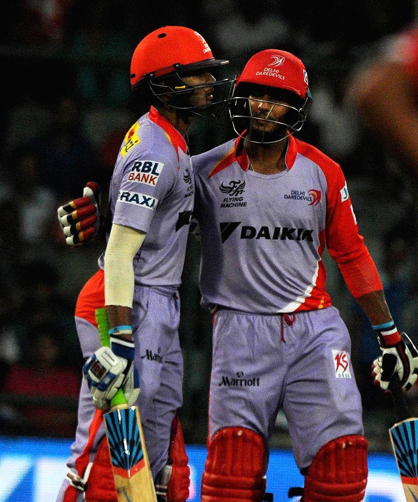 New Delhi:Delhi Daredevils batsmen Saurabh Tiwary and Mayank Agarwal during an IPL 2015 match between Delhi Daredevils and Kings XI Punjab at the Feroz Shah Kotla stadium in New Delhi, on May 1, ... - Feroz Shah Kotla