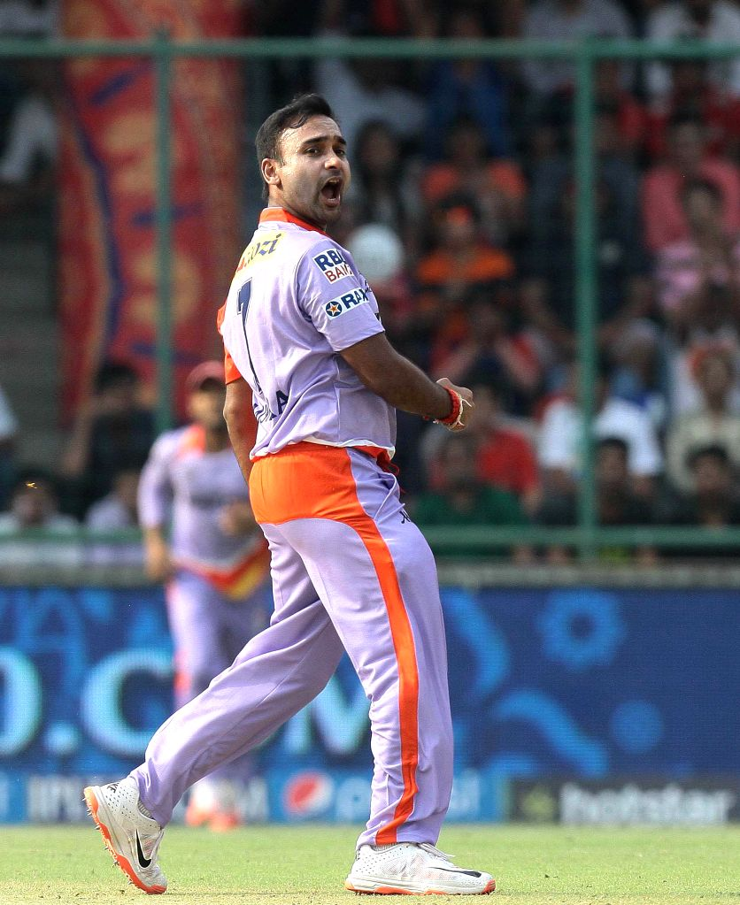 Delhi Daredevils bowler Amit Mishra celebrates fall of a wicket during an IPL 2015 match between Delhi Daredevils and Kings XI Punjab at the Feroz Shah Kotla stadium in New Delhi, on May ... - Amit Mishra and Feroz Shah Kotla