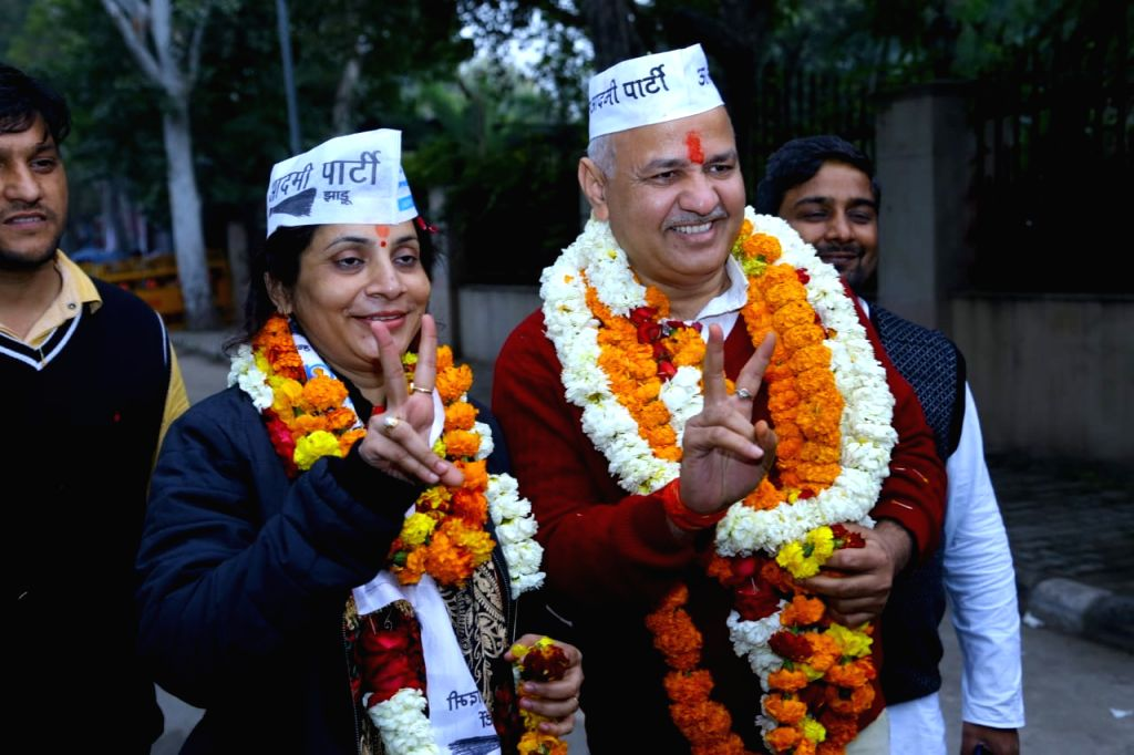 New Delhi: Delhi Deputy Chief Minister and Aam Aadmi Party leader Manish Sisodia along with his wife Seema Sisodia, comes out after filing his nomination papers for the February 8 Delhi Assembly polls, on Jan 16, 2020. He is contesting from the Patpa