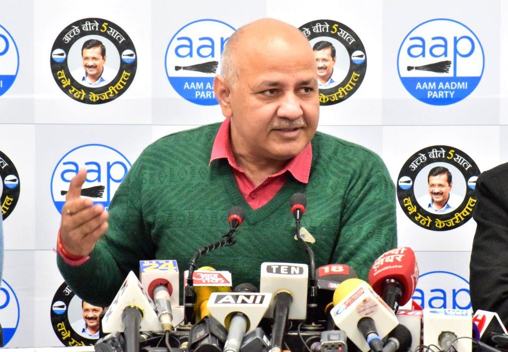 New Delhi: Delhi Deputy Chief Minister and AAP leader Manish Sisodia addresses a press conference in New Delhi on Jan 14, 2020. (Photo: IANS)