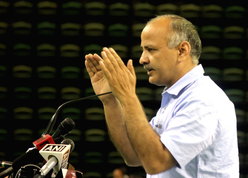 Delhi Deputy Chief Minister Manish Sisodia addresses during an interactive session with Government School Principals at Thyagaraj Stadium in New Delhi on May 2, 2015. - Manish Sisodia