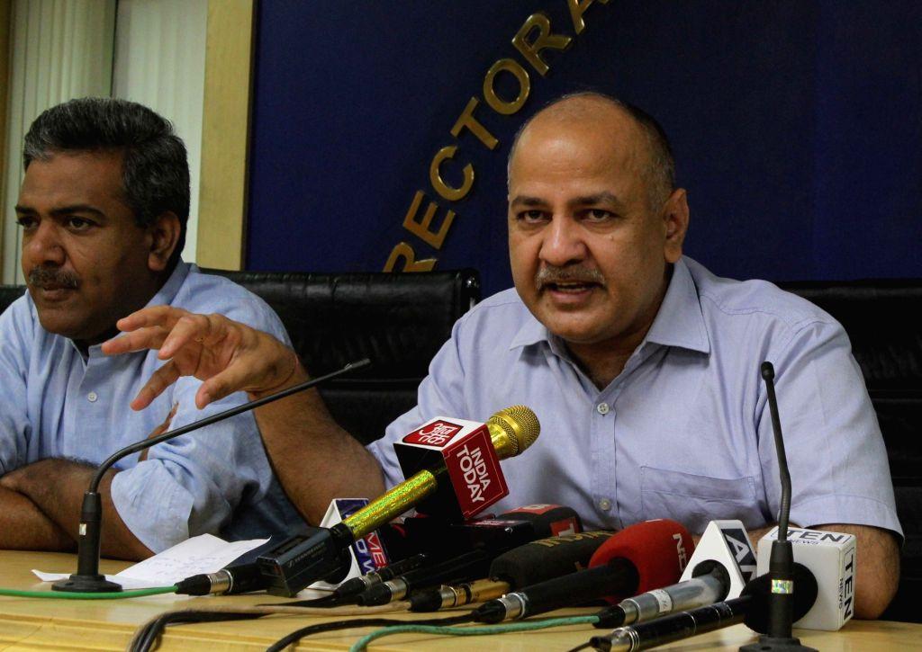 New Delhi: Delhi Deputy Chief Minister Manish Sisodia addresses a press conference in New Delhi on May 16, 2017. - Manish Sisodia