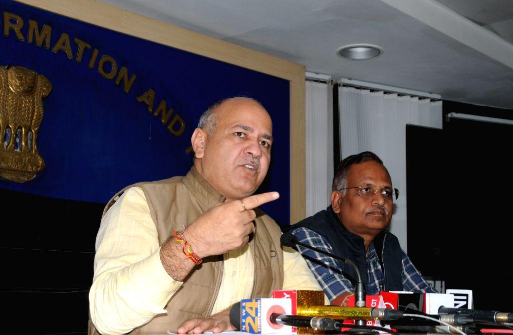 New Delhi: Delhi Deputy Chief Minister Manish Sisodia addresses a press conference in New Delhi on March 6, 2019. (Photo: IANS) - Manish Sisodia