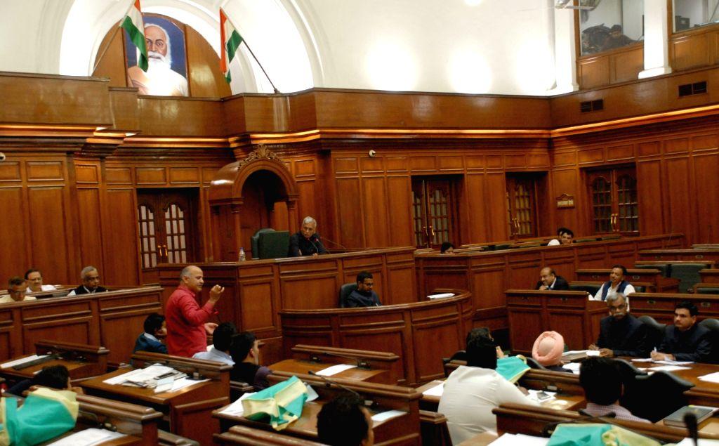 :New Delhi: Delhi Deputy Chief Minister Manish Sisodia addresses at Delhi Assembly's budget session in New Delhi, on March 10, 2017. (Photo: IANS).