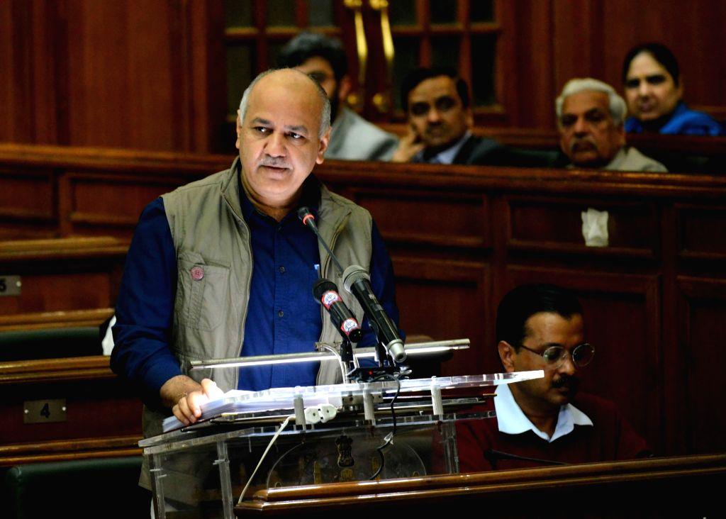 New Delhi: Delhi Finance Minister Manish Sisodia presents the state budget for 2019-20 at state assembly in New Delhi on Feb 26, 2019. (Photo: IANS) - Manish Sisodia