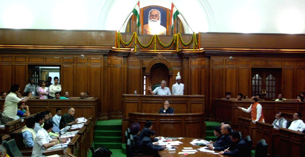 Delhi legislators during the budget session of the assembly in New Delhi, on March 25, 2015.