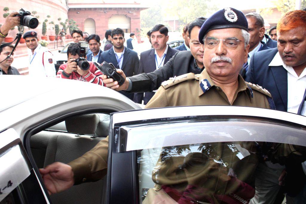 Delhi Police Commissioner B S Bassi at the Parliament House in New Delhi, on Dec 9, 2014.