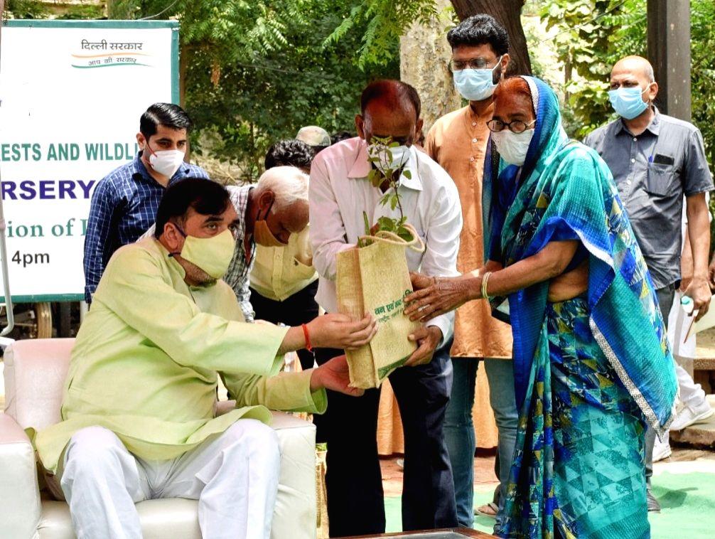 New Delhi :  Delhi's Environment Minister Gopal Rai visits the ITO Nursery regarding the distribution of  Medicinal plants at ITO Nursary in New Delhi on Friday 11 June 2021. - Gopal Rai