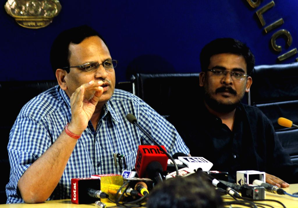 Delhi's Minister Satyendra Kumar Jain during a press conference regarding shortage of electricity in New Delhi, on June 17, 2015.