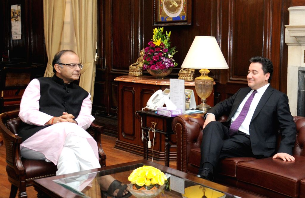 Deputy Prime Minister, Turkey, Ali Babacan calls on the Union Minister for Finance, Corporate Affairs and Information and Broadcasting Arun Jaitley, in New Delhi on April 6, 2015.