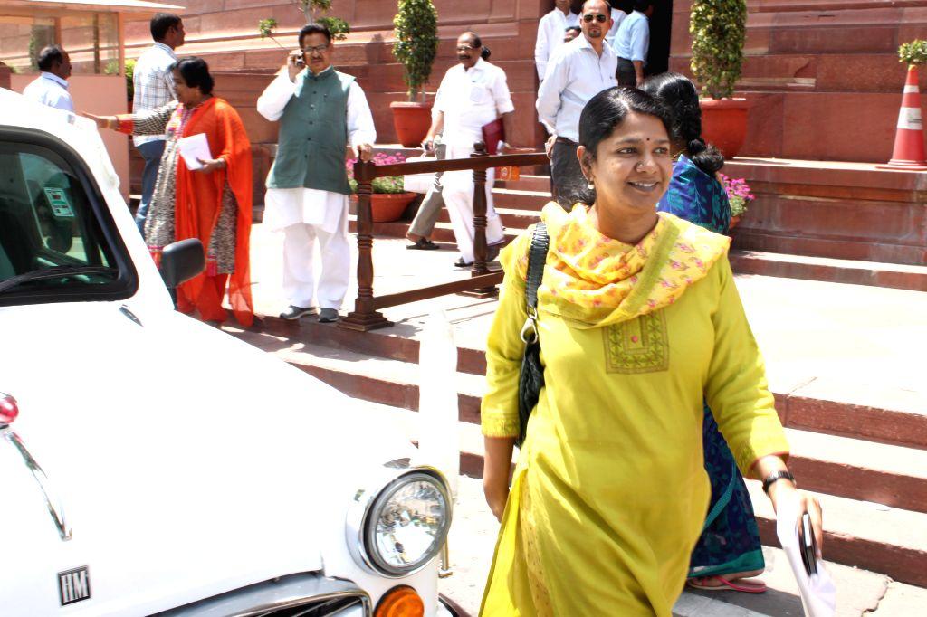 DMK MP Kanimozhi at the Parliament house in New Delhi, on April 23, 2015.