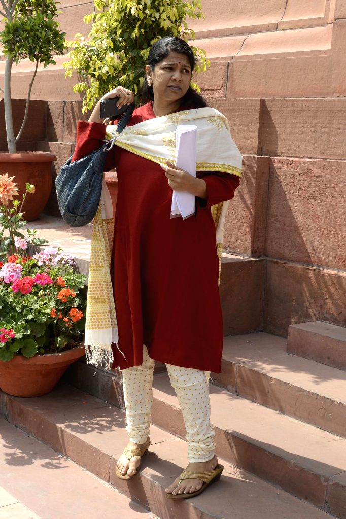 DMK MP Kanimozhi  at the Parliament in New Delhi, on March 11, 2015.