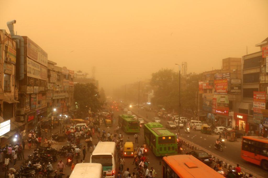 New Delhi: Dust storm hits New Delhi on June 12, 2019. (Photo: IANS)