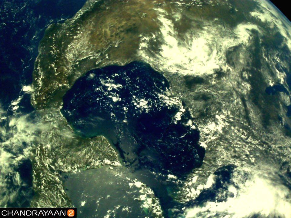 New Delhi : Earth as viewed by Chandrayaan-2's LI4 Camera on August 3, 2019 17:37 UT. (Photo: IANS/ISRO)